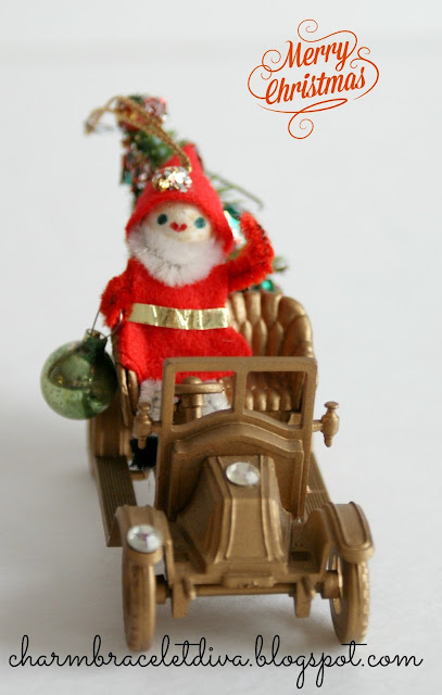 Vintage Santa Christmas Ornament on Sled