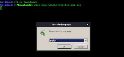 notepad ++ installing in Kali Linux using wine
