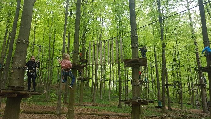 lapselle helppo zipline kiipeilypuistossa