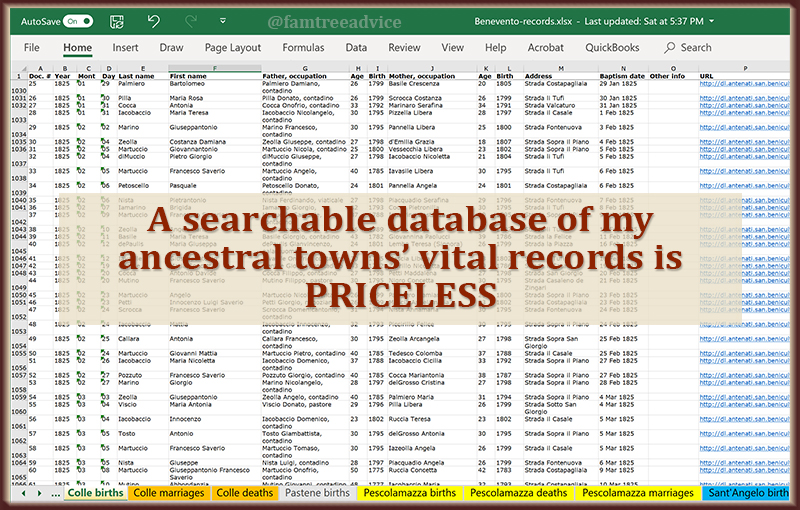 The more I add to this database of my ancestral towns, the more valuable it is.