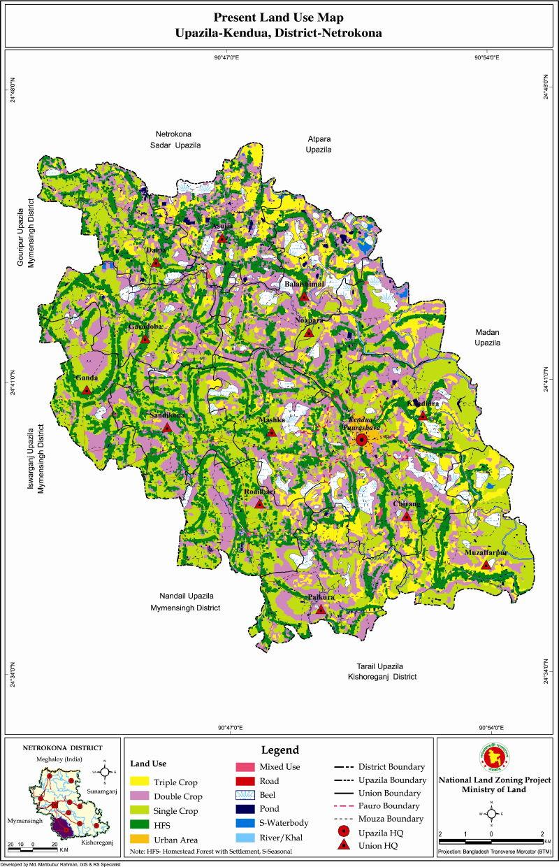 Kendua Upazila Mouza Map Netrokona District Bangladesh