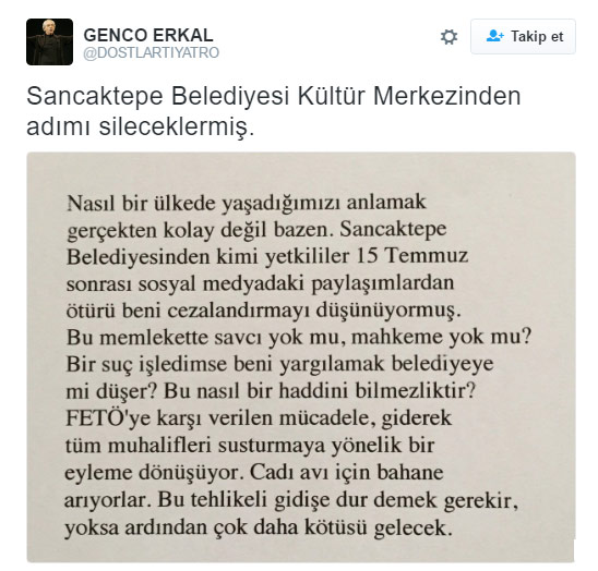 Genco Erkal Kültür Merkezi nin adı değiştiriliyor