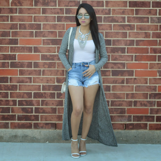 maxi cardigan and distressed shorts