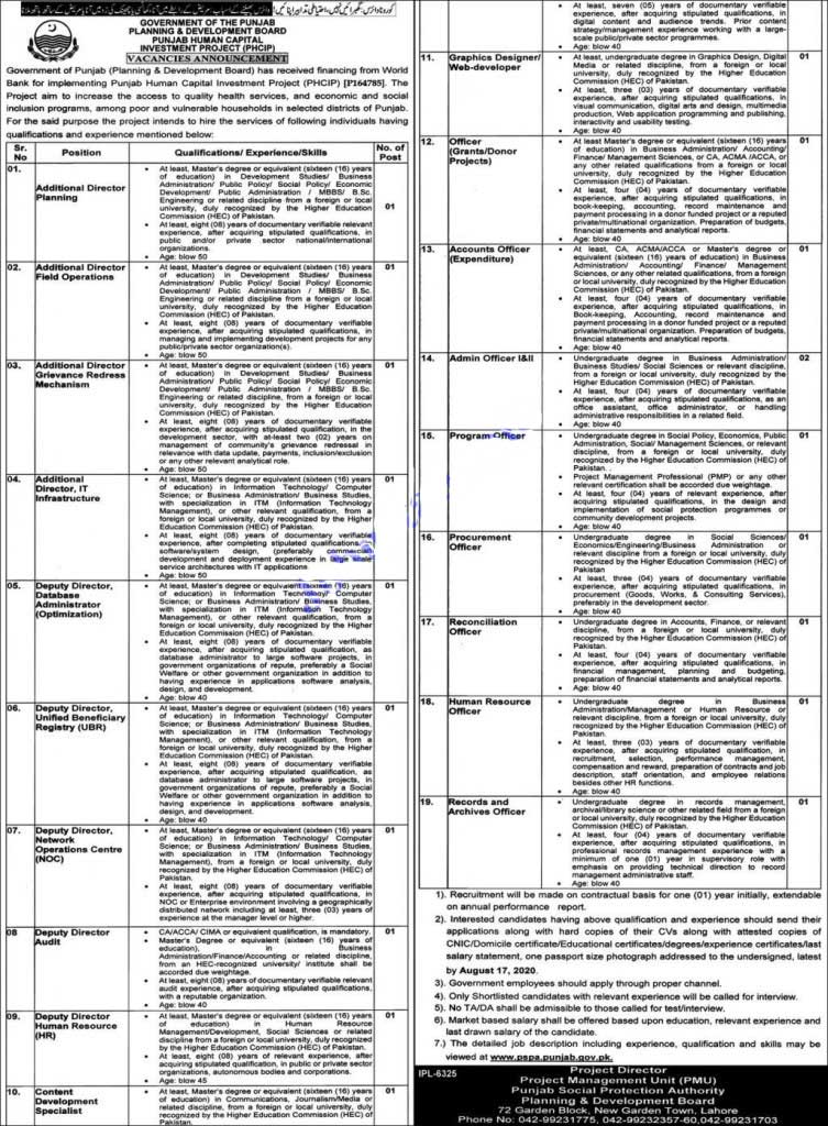 Govt of Punjab Human Capital Investment Project PHCIP Jobs 2020 Multiple Posts