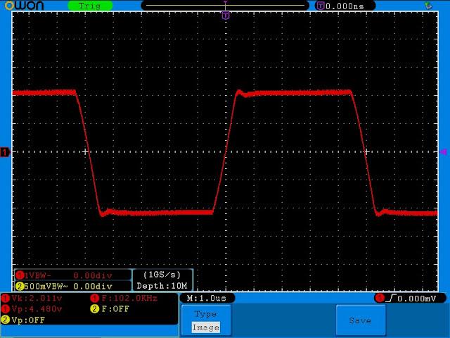 Осциллограмма выходного сигнала однотактного усилителя для наушников