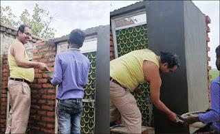 जौनपुर : खुद राजगीर बने सचिव, शौचालय के प्लास्टर के लिए हाथ में पकड़ा कन्नी