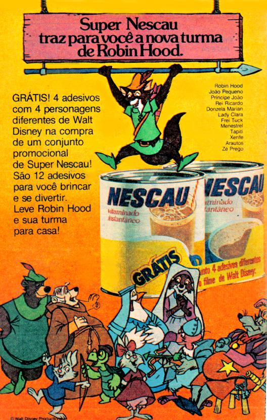 Propaganda antiga do Nescau nos anos 70 com adesivos promocionais de personagens da Disney