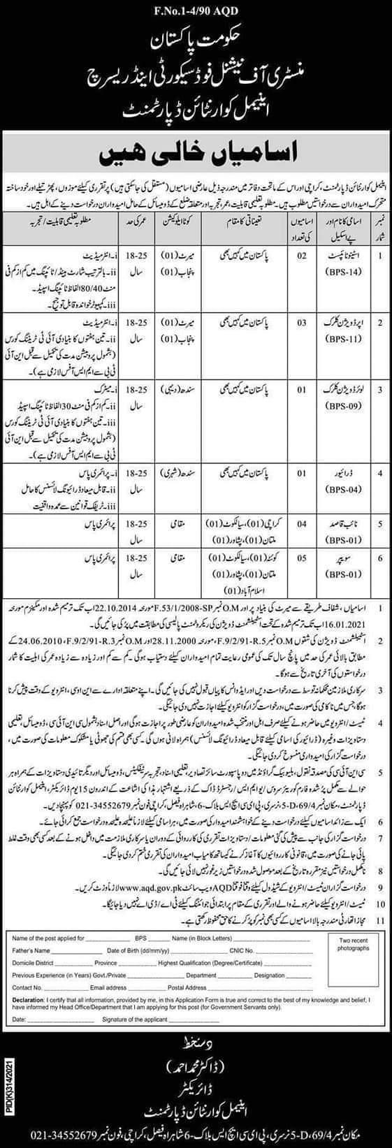 Ministry Of National Food Security And Research MNFSR Jobs 2021