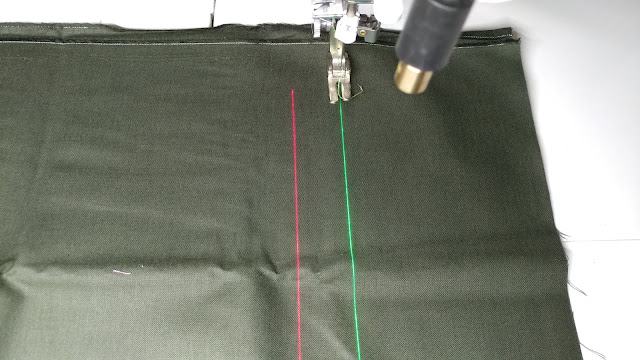 Red and green sewing machine lasers