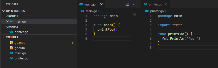 show that in golang file in same package can referencing directly