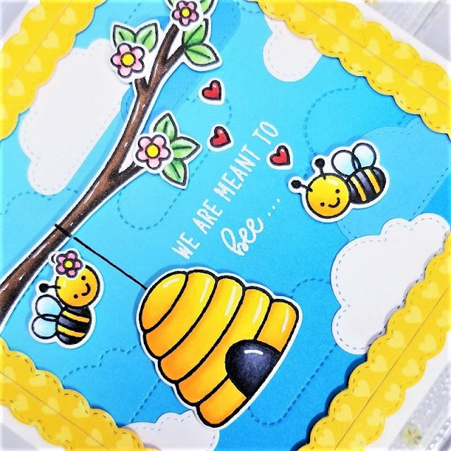 Sunny Studio Stamps: Just Bee-cause Fluffy Clouds Border Dies Frilly Frame Dies Fancy Frames Dies Just Because Cards by Ana Anderson