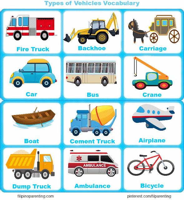 Vehicles Vocabulary English