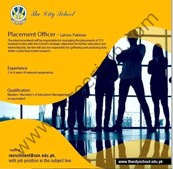 recruitment@csn.edu.pk - The City School Jobs 2021 in Pakistan For Placement Officer