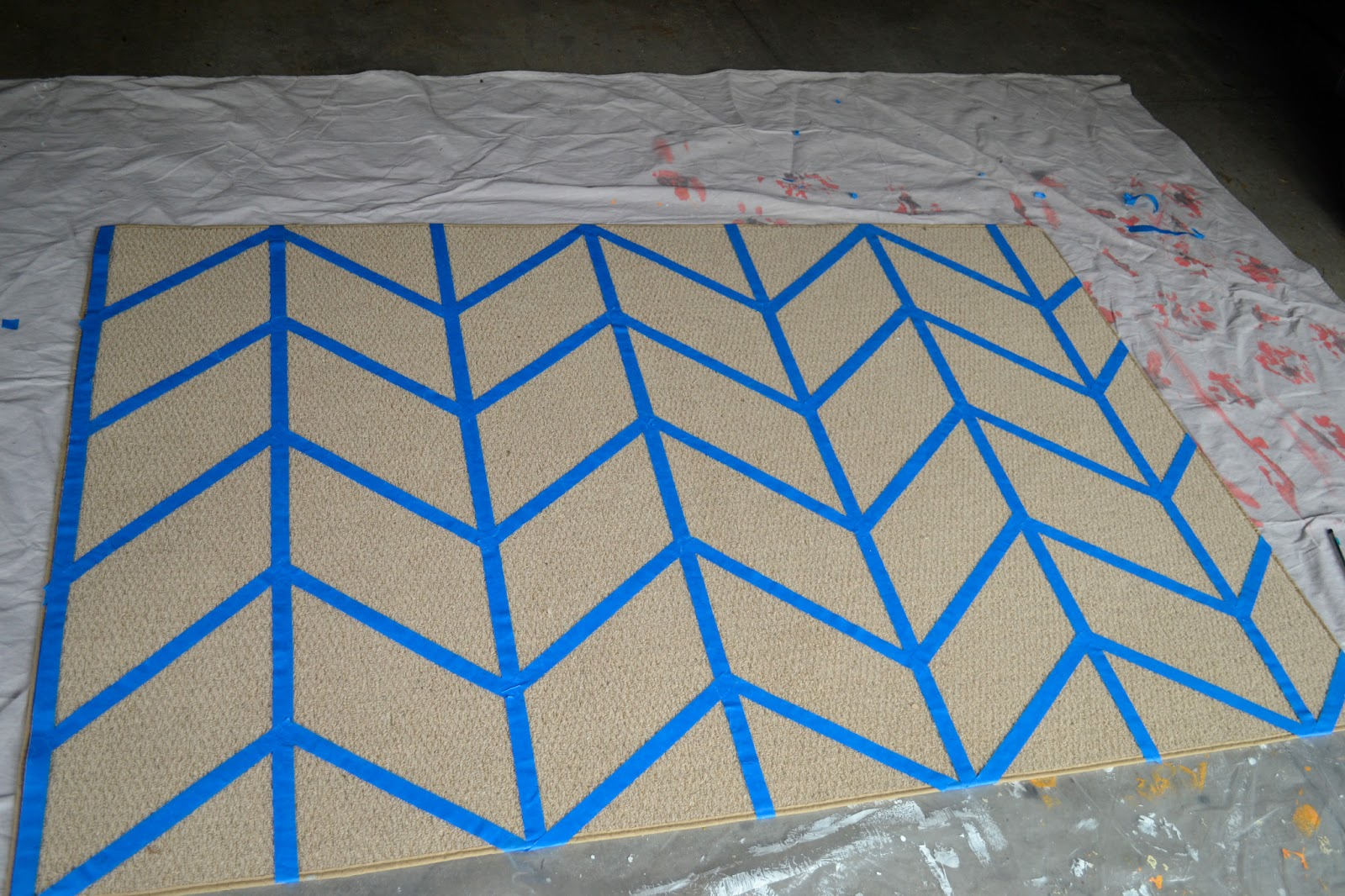 Our House In The Middle Of Our Street Painted Chevron Rug