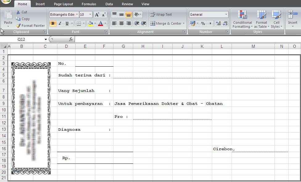 Format Kwitansi Dalam Bentuk Excel Baca31