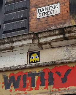The first Invader I spotted in Manchester that reminded me that they existed - and got me hooked on finding more - was MAN_08 on Withy Grove Stores on Dantzic Street
