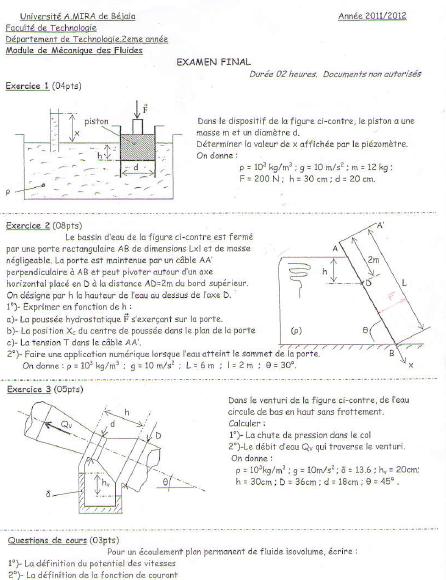 Electomecanique Examen Corrige Mecanique De Fluide Mdf 2012