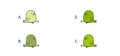 Alt 7 Q 12. Which color bird ate a cherry?