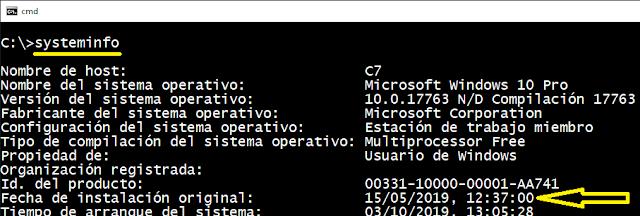 Windows: ¿Cuando fué instalado?