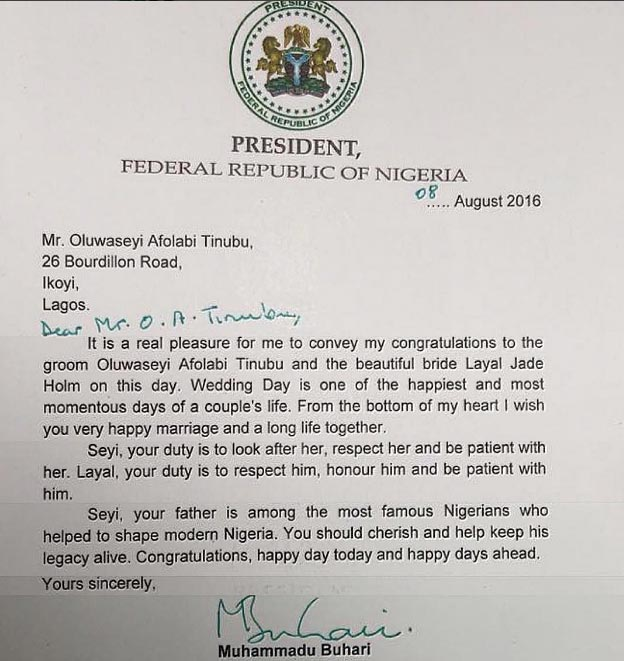 President Buhari writes official letter to Tinubu's son who got married today