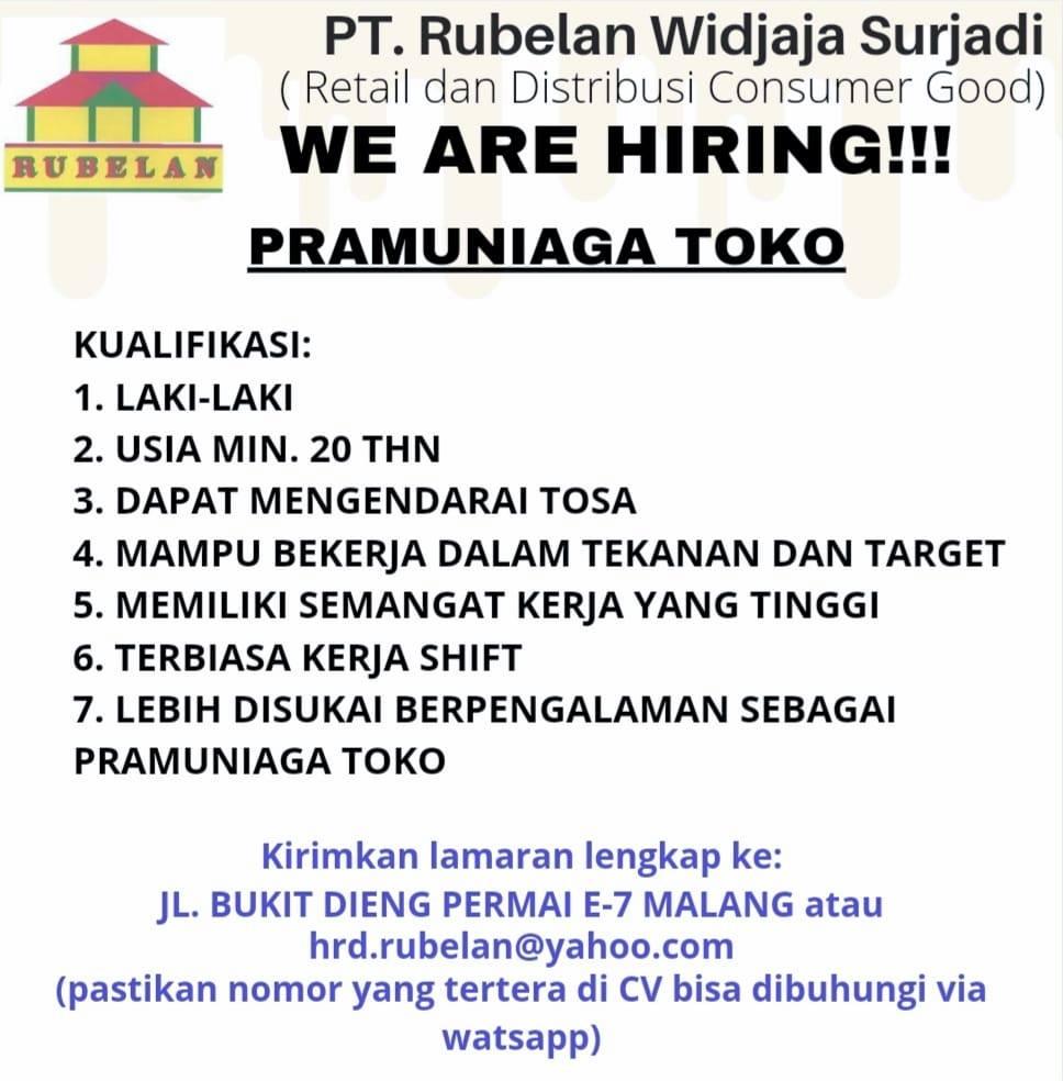 Lowongan Kerja Malang Juni 2021 Pt Rubelan Widjaja Surjadi