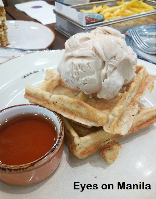 Olivia & Co.: Plain Waffle with Ice Cream and Maple Syrup