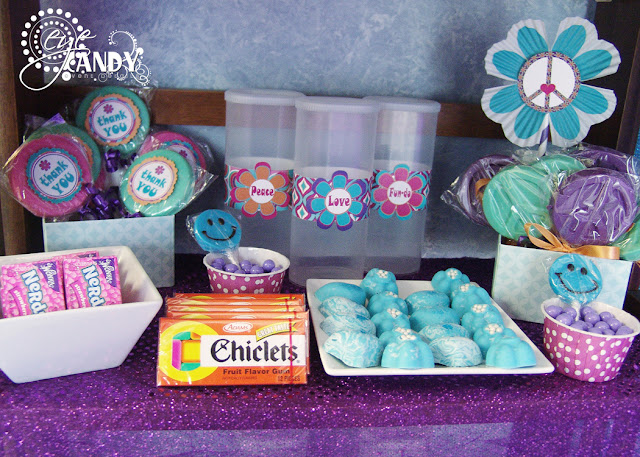 peace party candy bar ideas, daisy decor, nerds, chiclets