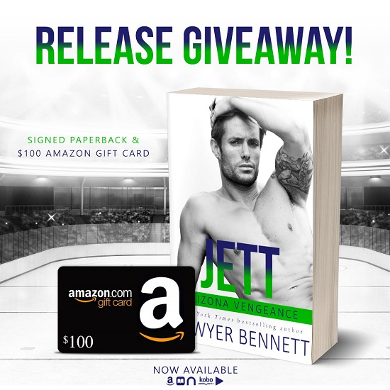 Release Giveaway! Signed Paperback & $100 Amazon gift card. Jett by Sawyer Bennett. Now available.