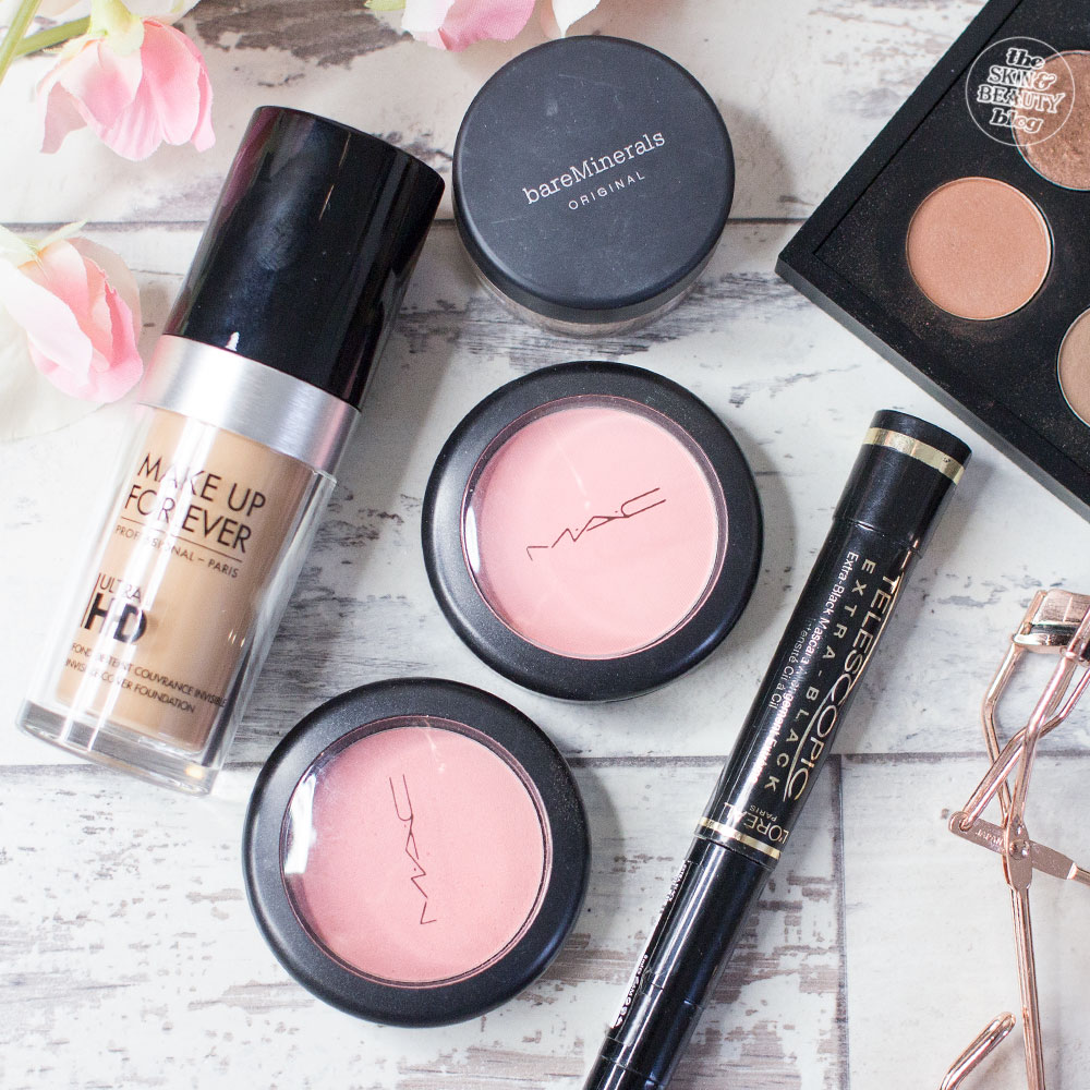 Make Up For Ever Ultra HD Foundation bareMinerals Original SPF15 Foundation MAC Rosy Outlook and Royal Sunset Blush MAC Texture Eyeshadow L'Oreal Paris Telescopic Mascara