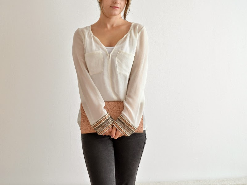 embellished sleeves zara blouse