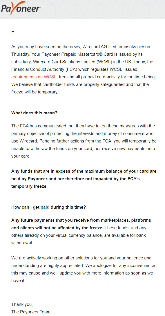 Payoneer Statement on WireCard Scandal
