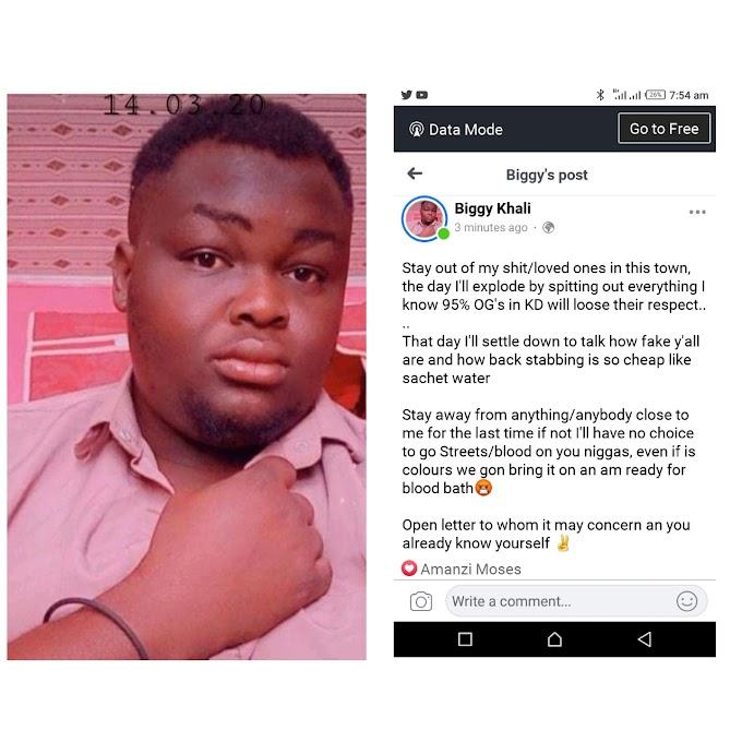"Kaduna Based Blogger ""Biggy Khali"" Posts Open Letter On Social Media"