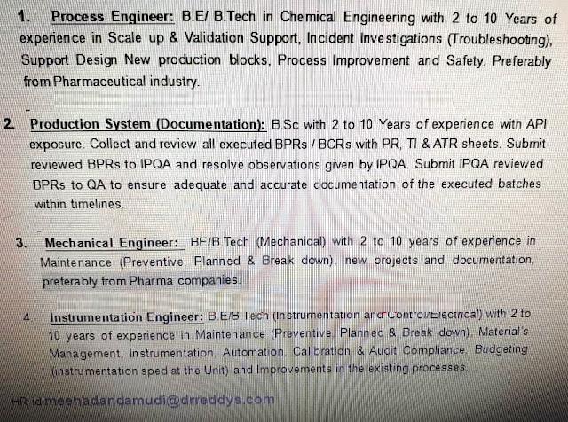 Dr.Reddy's Urgent Hiring Process Engineer, Production System (Documentation), Mechanical Engineer, Instrumentation Engineer