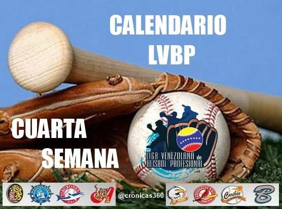 CALENDARIO CUARTA SEMANA LVBP - Todos los Equipos - Incluye TV