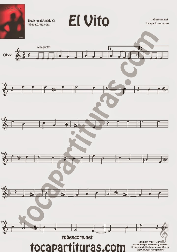 El Vito Partitura de Oboe Sheet Music for Oboe Music Score