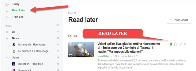 salvare articoli nella raccolta Read Later