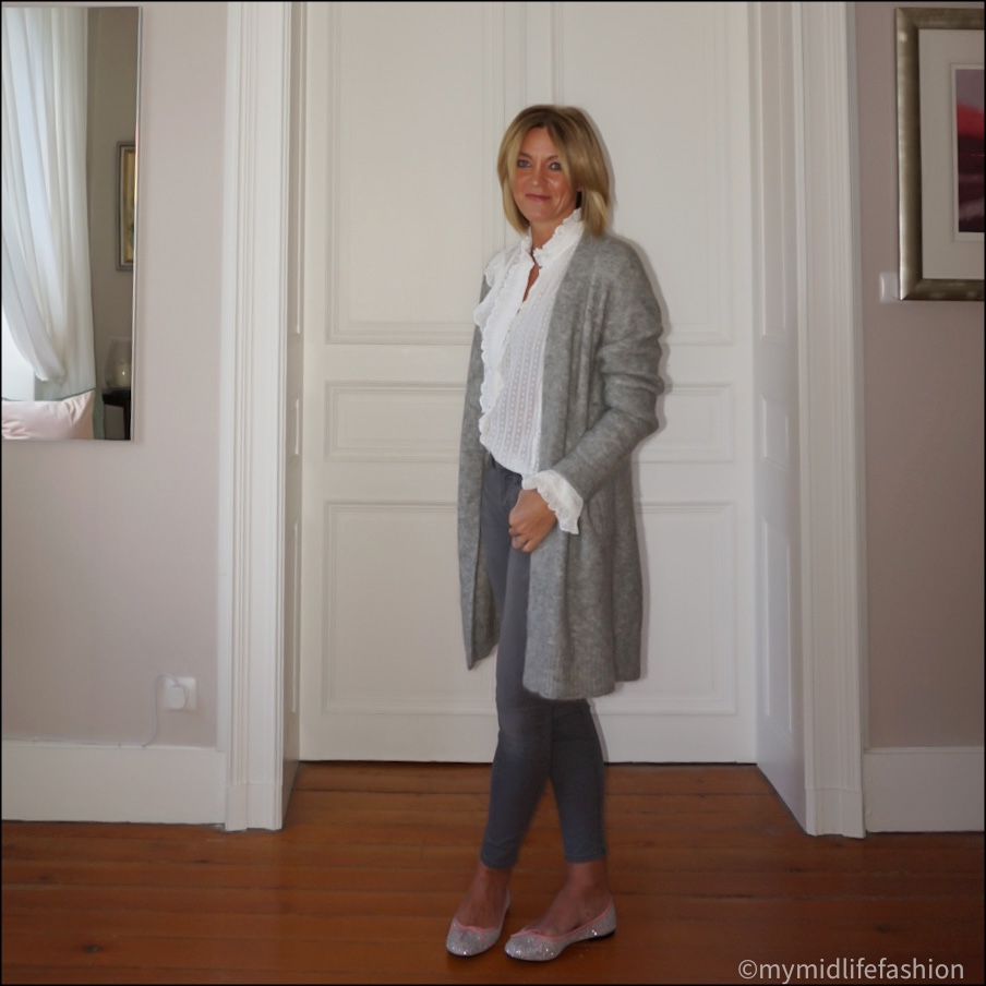 my midlife fashion, acne studios oversized longline cardigan, Isabel Marant Etoile frill detail blouse, j crew 8 inch toothpick skinny jeans, French sole Henrietta glitter ballet pumps