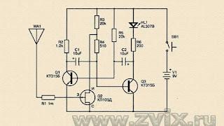 изображена схема искателя скрытой проводки на трех транзисторах