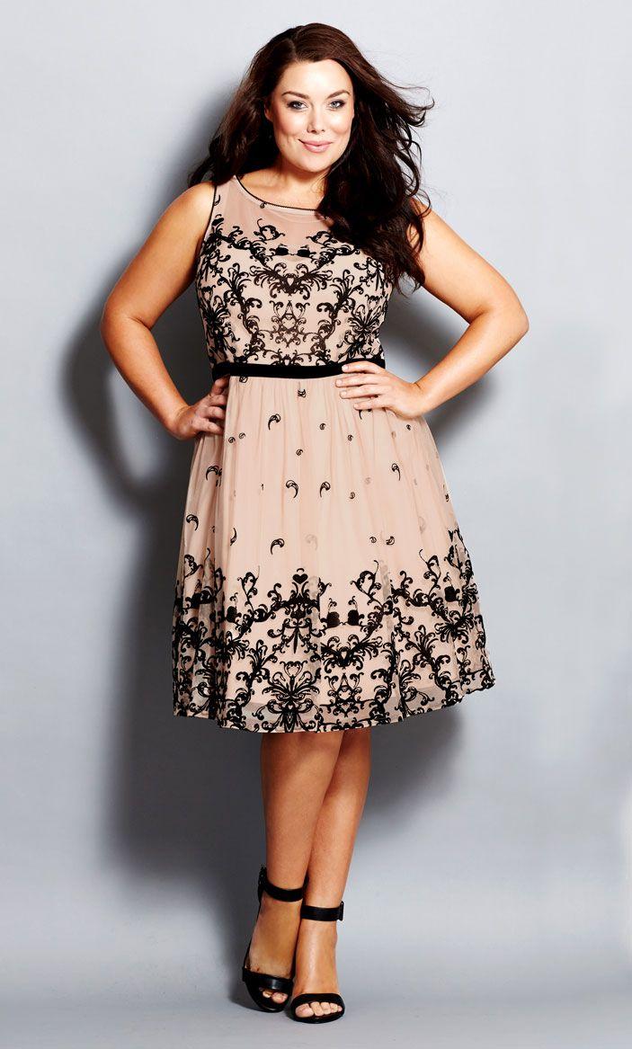 Plus Size Flocked Flirt Guest Wedding Dress