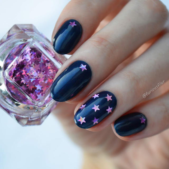holographic metallic blue pink star nails winter