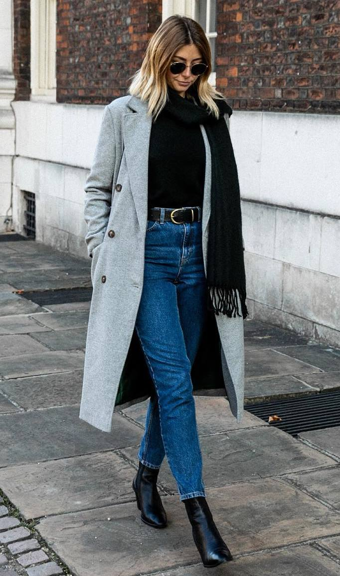 stylish look_scarf + grey coat + boyfriend jeans + boots + top