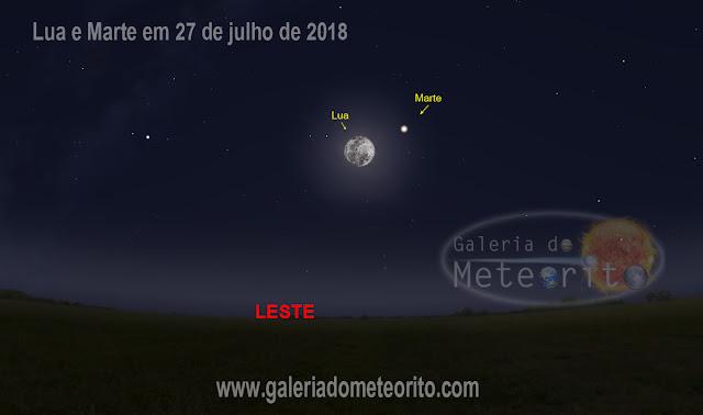 Lua e Marte em 27 de julho de 2018