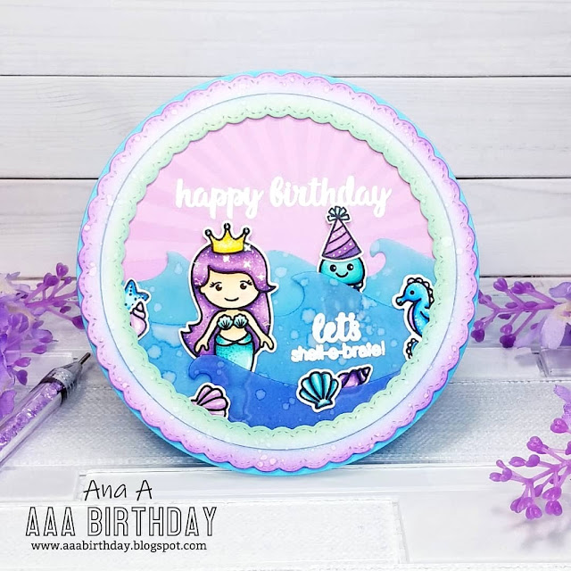 Sunny Studio Stamps: Magical Mermaids Fancy Frames Circle Dies Customer Birthday Card by Ana Anderson