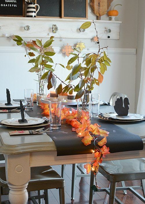 Thanksgiving Table Decor with turkey placecard holders and light up leaf garland