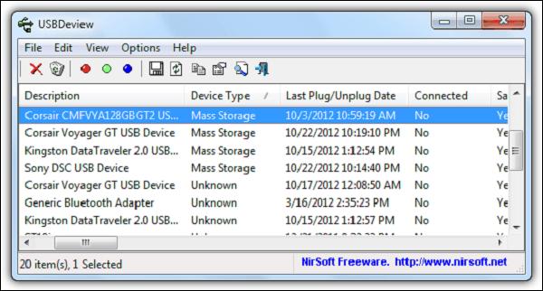 برنامج USBDeview