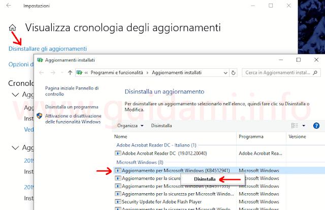 Aggiornamenti installati Windows 10 disinstallare aggiornamento KB4512941