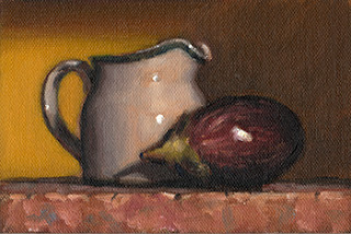 Still life oil painting of a small porcelain milk jug beside a small eggplant.