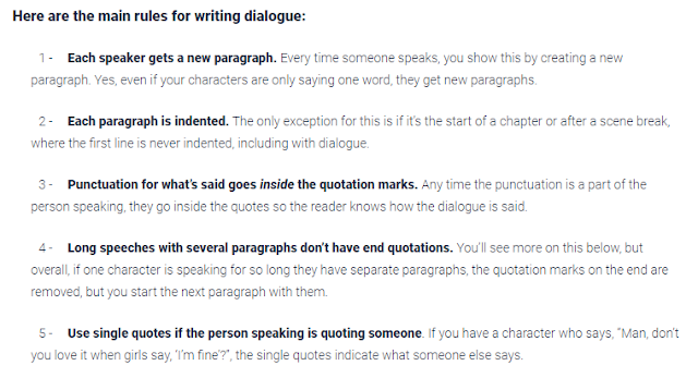 Rules for writing dialogue