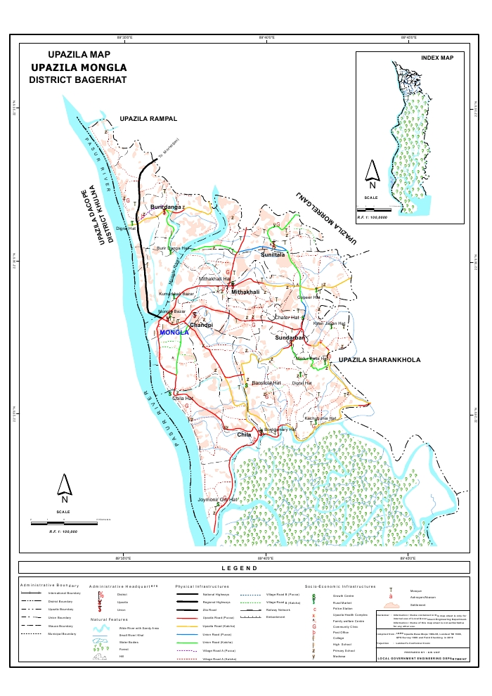 Mongla Upazila Map Bagerhat  District Bangladesh