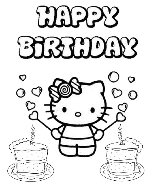 26 Hello Kitty Happy Birthday Coloring Pages - C0loring